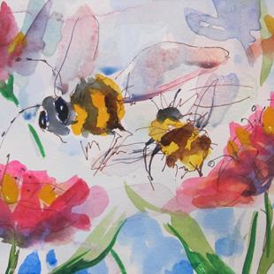 Art: Flowers and Bees by Artist Delilah Smith