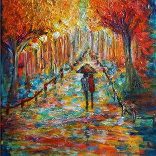 Art: A Colorful Park in Vienna...Rain Romance...With Love from Europe by Artist LUIZA VIZOLI