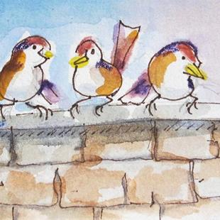 Art: Birds on a Wall No. 2 by Artist Delilah Smith