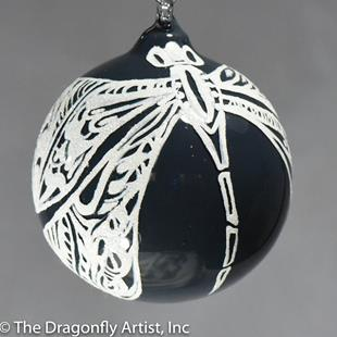 Art: Navy Milk Glass and Pearl White Dragonfly Ball # 1393100 by Artist Rebecca M Ronesi-Gutierrez