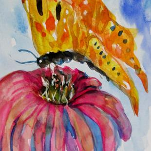 Art: Cone Flower and Butterfly by Artist Delilah Smith