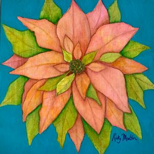 Art: Pink Poinsettia on cradled wood panel by Artist Ulrike 'Ricky' Martin