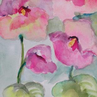 Art: Pink Hollyhocks by Artist Delilah Smith