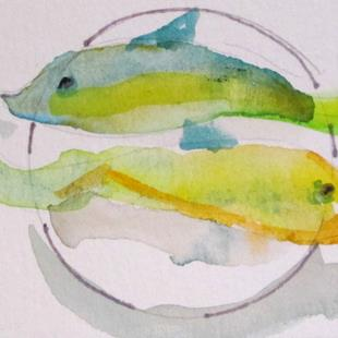 Art: Fish on a Plate aceo by Artist Delilah Smith