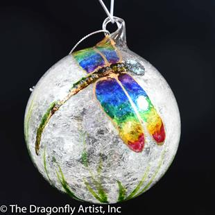 Art: Hand Blown Rainbow Winged Dragonfly Pride Ornament Sun Catcher by Artist Rebecca M Ronesi-Gutierrez