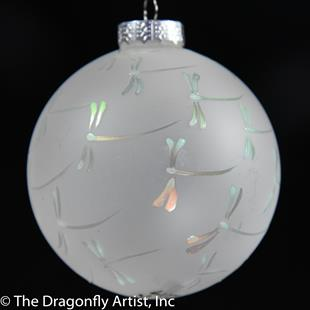 Art: Color Changing Dragonflies on Frosted White Glass Ornament by Artist Rebecca M Ronesi-Gutierrez