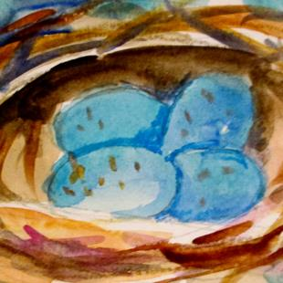 Art: nest and blue eggs by Artist Delilah Smith