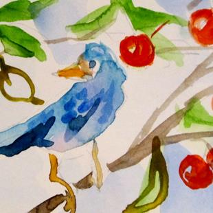 Art: Blue Bird and Cherry Tree by Artist Delilah Smith