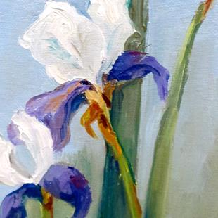 Art: Purple and White Iris by Artist Delilah Smith