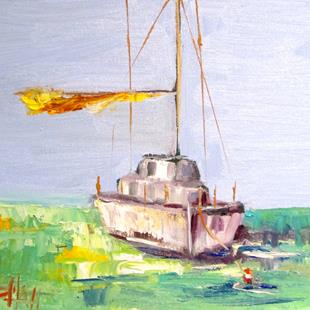 Art: Sailboat with Yellow Sail by Artist Delilah Smith
