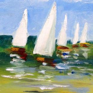 Art: A Clear Day,Sailboat by Artist Delilah Smith