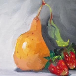 Art: Pear and Strawberries by Artist Delilah Smith
