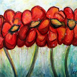 Art: RED POPPIES AFTER THE RAIN by Artist LUIZA VIZOLI