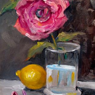 Art: Pink Rose and Lemon by Artist Delilah Smith