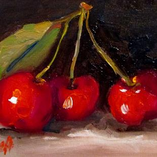 Art: Three Cherries by Artist Delilah Smith