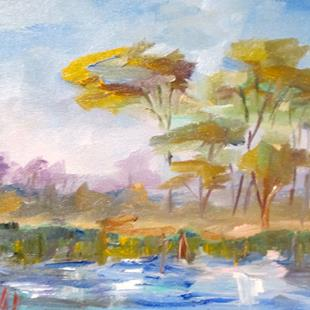 Art: Landscape and Pond by Artist Delilah Smith