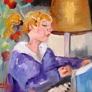 Art: Girl Playing Piano by Artist Delilah Smith