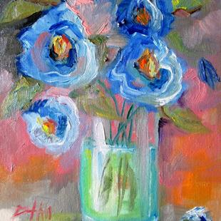 Art: Blue Flowers in a Vase by Artist Delilah Smith