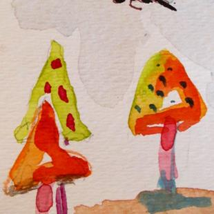Art: Mushrooms and Dragonfly-sold by Artist Delilah Smith