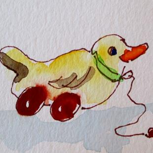 Art: Pull Toy Duck by Artist Delilah Smith