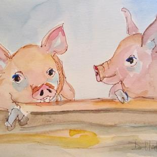Art: Two Piggies by Artist Delilah Smith