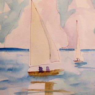 Art: Two Sailboats by Artist Delilah Smith