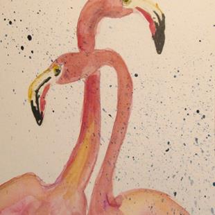 Art: Two Flamingos by Artist Delilah Smith