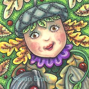 Art: ACORN GIRL AND NUTS by Artist Susan Brack