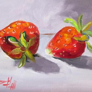 Art: Two Strawberries by Artist Delilah Smith
