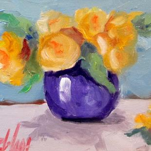 Art: Yellow Flowers in a Purple Vase by Artist Delilah Smith