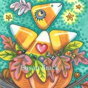Art: CANDY CORN TWEET by Artist Susan Brack