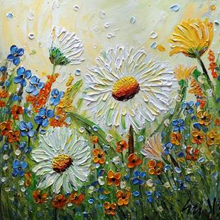Art: Celebration of Spring Chamomile Flowers Blue Forget Me Not and Orange Wildf by Artist LUIZA VIZOLI