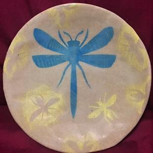 Art: dragonfly and bee pottery by Artist Vic Ki Lynn