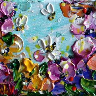 Art: Bees and Flowers . by Artist LUIZA VIZOLI
