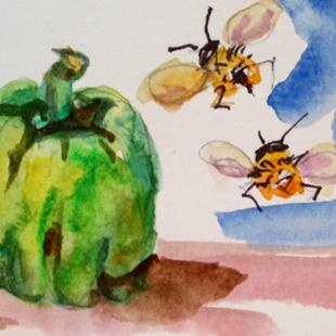 Art: Greeen Pepper and Bee No. 2 by Artist Delilah Smith