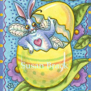 Art: FLUTTERBUN SPRING IS NEAR WHEN THE BLUE HARE HATCHES by Artist Susan Brack