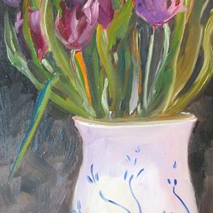 Art: Pot of Tulips by Artist Delilah Smith