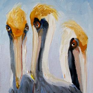 Art: Three Pelicans by Artist Delilah Smith