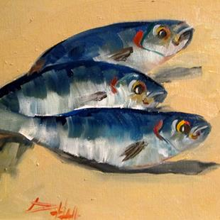 Art: Three Fish by Artist Delilah Smith
