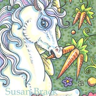 Art: CARROTS ON THE VINE A HORSEFLY FAVORITE by Artist Susan Brack