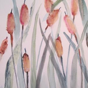Art: Cattails by Artist Delilah Smith