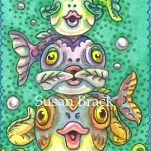 Art: BUBBLES AND FINS SEE NO EVIL by Artist Susan Brack
