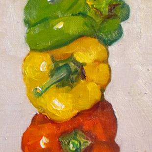 Art: Three Peppers by Artist Delilah Smith