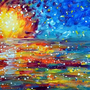 Art: Ocean Sunset   Maui Hawaii by Artist LUIZA VIZOLI