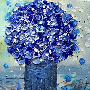 Art: Blue Flowers Bouquet by Artist LUIZA VIZOLI