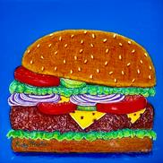 Art: Cheeseburger with Resin Top Coat by Ulrike 'Ricky' Martin