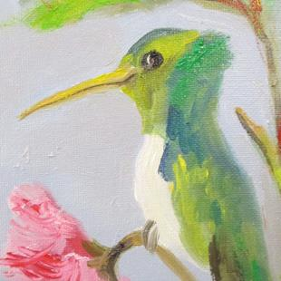 Art: Green Hummingbird and Pink Flower by Artist Delilah Smith