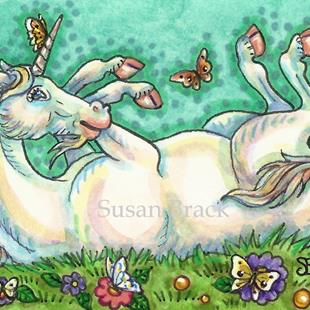 Art: BUTTERFLIES TICKLE Unicorn by Artist Susan Brack