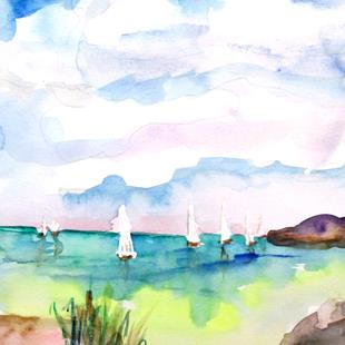 Art: An Ocean of Sailboats by Artist Delilah Smith