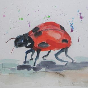 Art: Run Away Lady Bug by Artist Delilah Smith